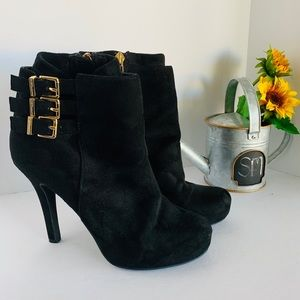 BCBG Suede ankle bootie